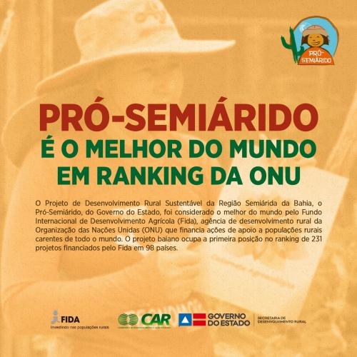 PRÓ-SEMIÁRIDO | Projeto Pró-Semiárido  é classificado como o melhor do mundo pelo FIDA