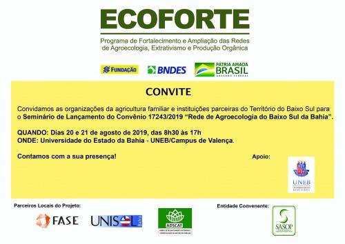 ECOFORTE REDES | Projeto Rede de Agroecologia do Baixo Sul será lançado em Valença-BA