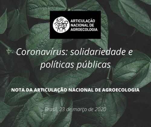 CORONAVÍRUS: SOLIDARIEDADE E POLÍTICAS PÚBLICAS